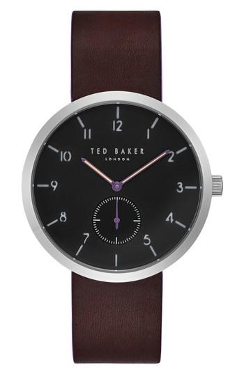 Ted Baker Josh Subeye Leather Strap Watch, 42mm In Grey/ Dark Brown