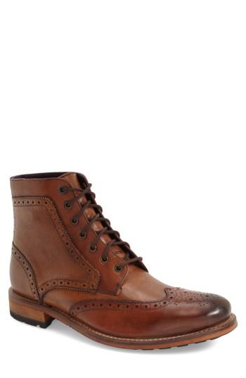 Ted Baker 'sealls 3' Wingtip Boot In Tan Leather