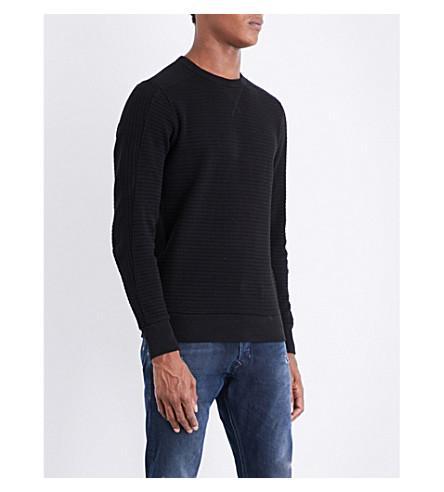 Diesel S-jerry Waffle-knit Cotton Sweatshirt In Black