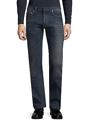 Dior Washed Straight Jeans In Blue