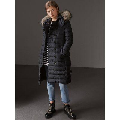 Burberry Detachable Hood Fur Trim Down-filled Puffer Coat In Navy