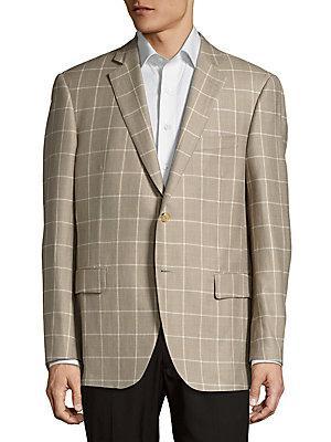 Pal Zileri Windowpane-plaid Notch-lapel Jacket In Beige
