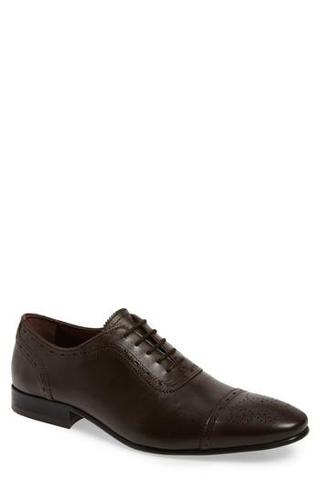Ted Baker Barliy Cap Toe Oxford In Brown Leather