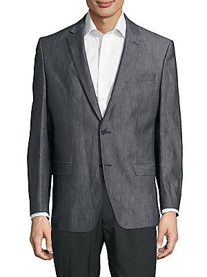 Versace Wool-blend Notch-lapel Jacket In Navy