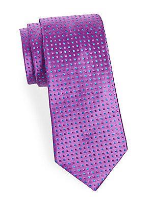 Charvet Squares Silk Tie In Purple