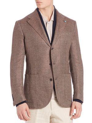 Eidos Camel & Wool Herringbone Blazer In Brown