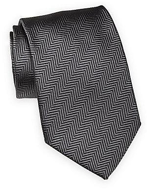 Giorgio Armani Striped Silk Tie In Dark Grey