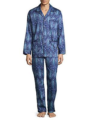 Robert Graham Paisley Cotton Pajamas In Batik Blue