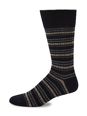 Saks Fifth Avenue Striped Mid-calf Socks In Navy