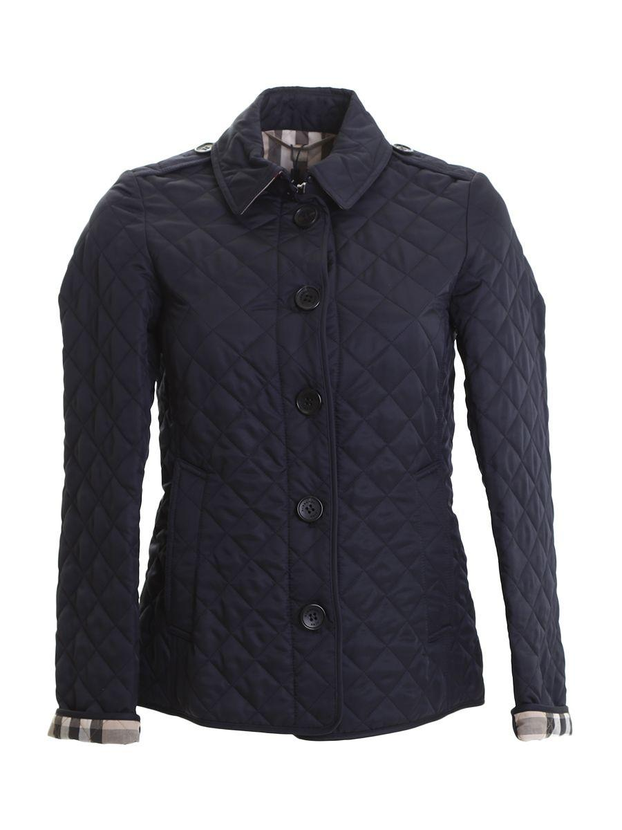 Burberry Blue Nylon Quilted Short Coat