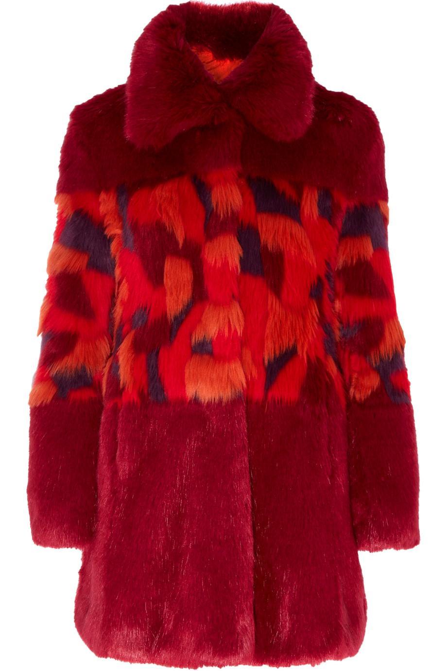 Ainea Woman Faux Fur Coat Red