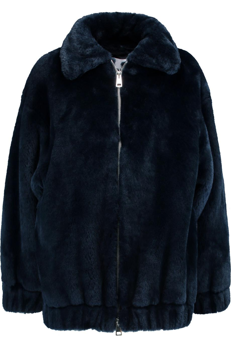 Ainea Woman Oversized Faux Fur Coat Midnight Blue