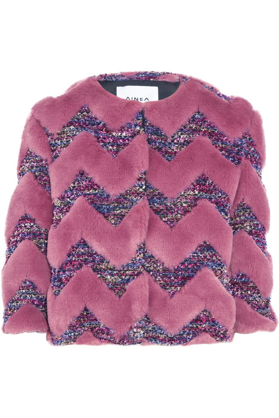 Ainea Woman Cropped Faux Fur And Bouclé Jacket Pastel Pink