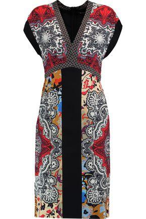Etro Woman Printed Satin Dress Black