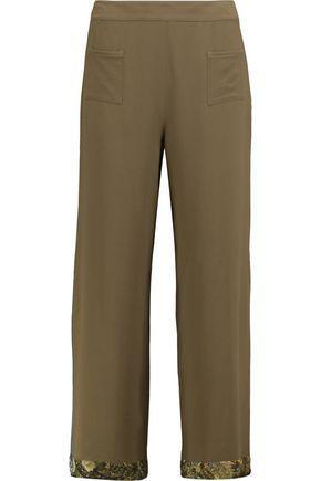 Etro Woman Cropped Crepe Wide-leg Pants Army Green