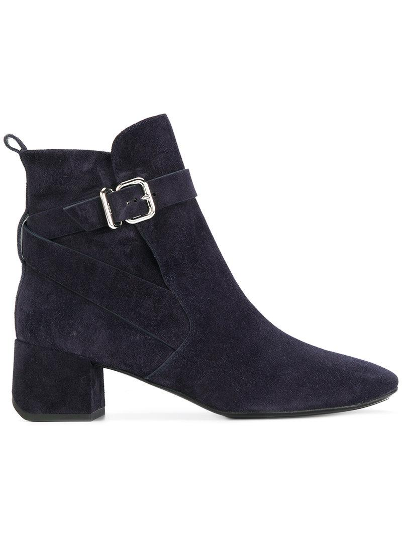 Tod's Buckle Strap Ankle Boots - Blue