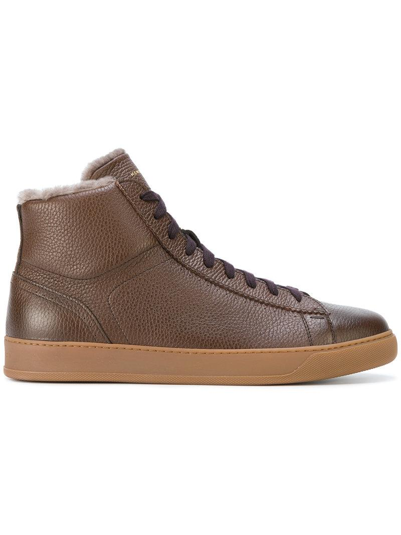 Henderson Baracco Hi-top Sneakers With Lamb Fur - Unavailable In Tabacco