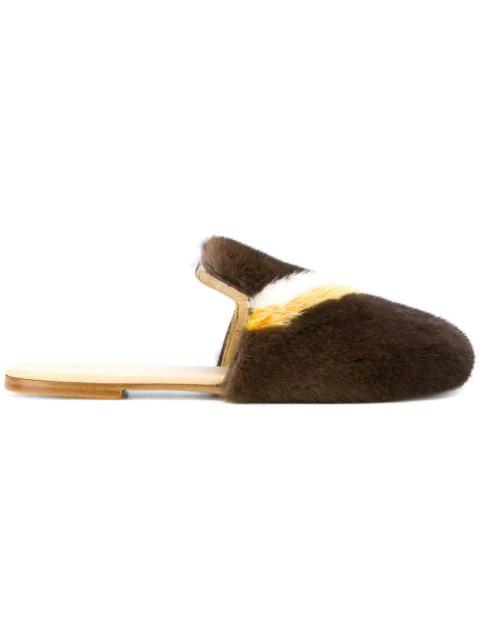 Joshua Sanders Mink Fur Slippers In Brown