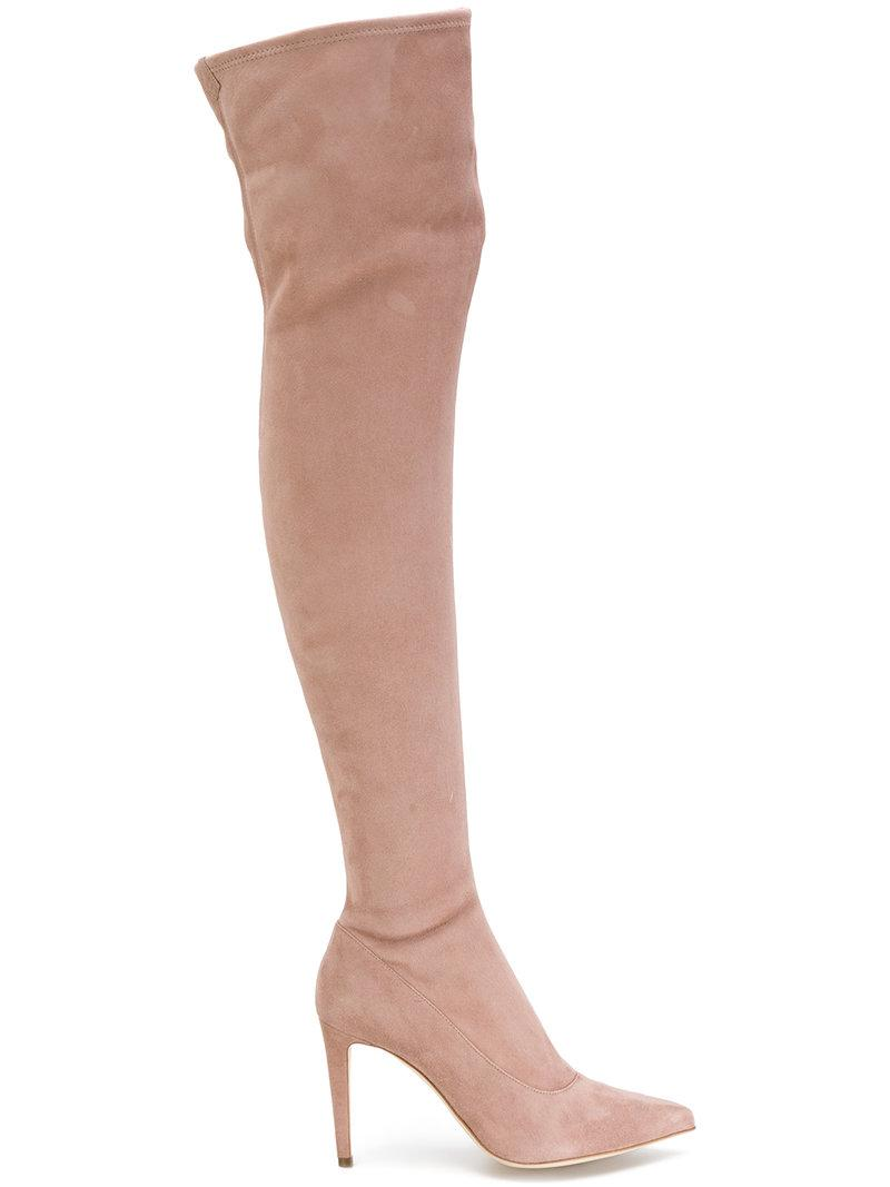 Sergio Rossi Thigh High Pointed Boots In Cipria