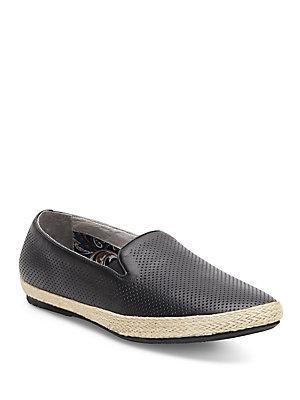 Joe's Perforated Leather Espadrille Slip-ons In Black