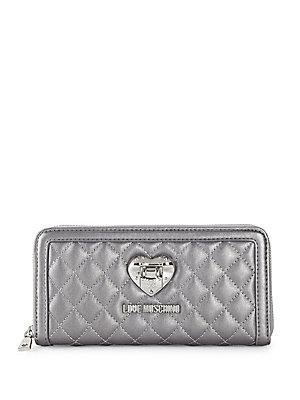 Love Moschino Quilted Faux Leather Continental Wallet In Silver