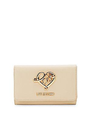 Love Moschino Love Fold Over Wallet In Ivory