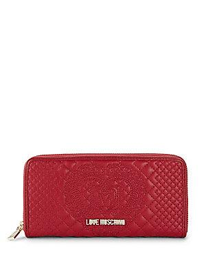 Love Moschino Embossed Faux Leather Zip-around Wallet In Dark Red