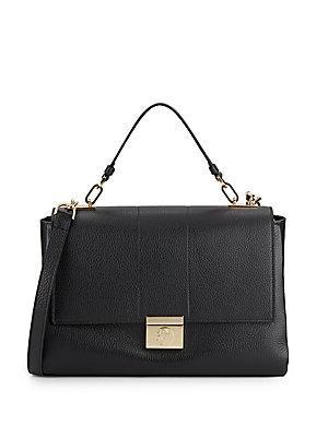 Versace Top Handle Mini Leather Shoulder Bag In Nero