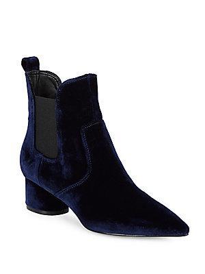 Kendall + Kylie Velvet Chelsea Boots In Blue