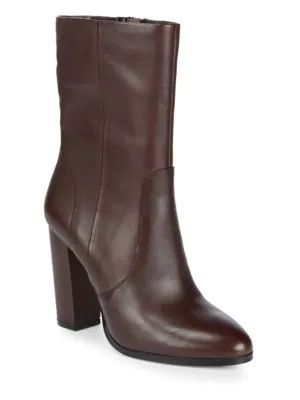 Saks Fifth Avenue Harper Leather Booties In Mulberry