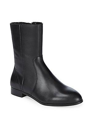 Saks Fifth Avenue Paneled Almond Toe Leather Ankle Boots In Black