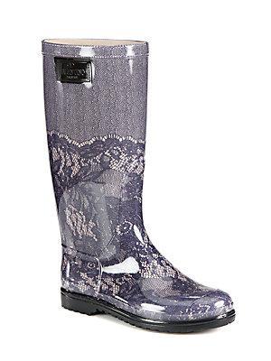 Valentino Garavani Lace-printed Rubber Rain Boots In Blush