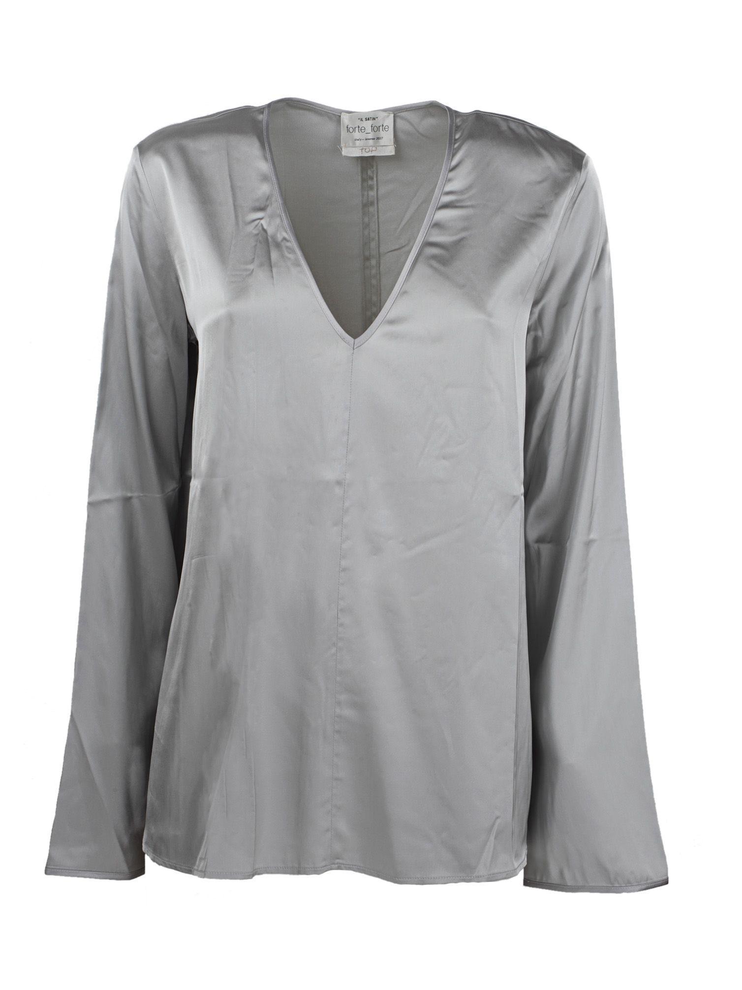 Forte Forte V-neck Top In Grey