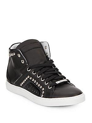 Alessandro Dell'acqua Alessandro Dell''acqua Studded High-top Leather Sneaker In Black