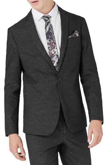 Topman Skinny Fit Stripe Suit Jacket In Black