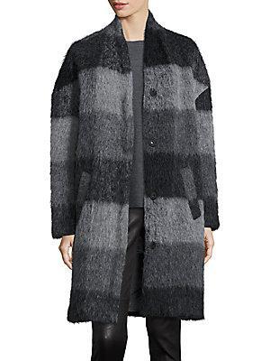Eileen Fisher Check Cocoon Coat In Grey