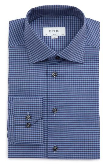 Eton Slim Fit Check Dress Shirt In Blue