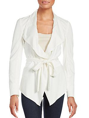Magaschoni Tie-up Belt Solid Jacket In White