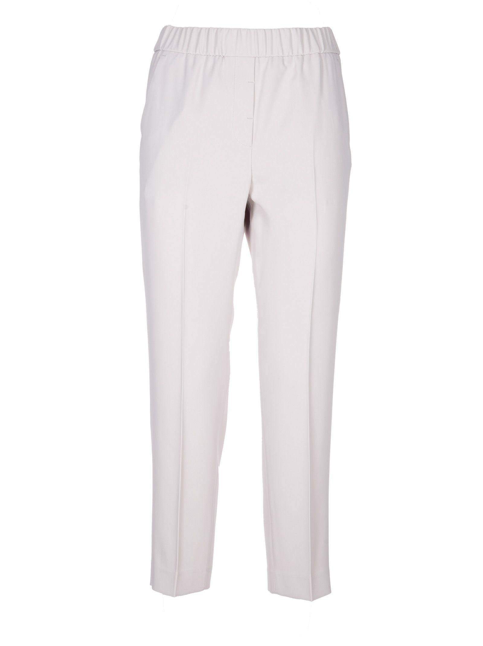 Peserico Cropped Trousers In Off White