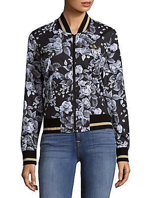 True Religion Floral Cotton Bomber Jacket In Multi