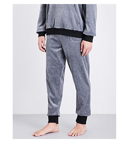 Emporio Armani Logo-embroidered Velour Track Pants In Lt Grey