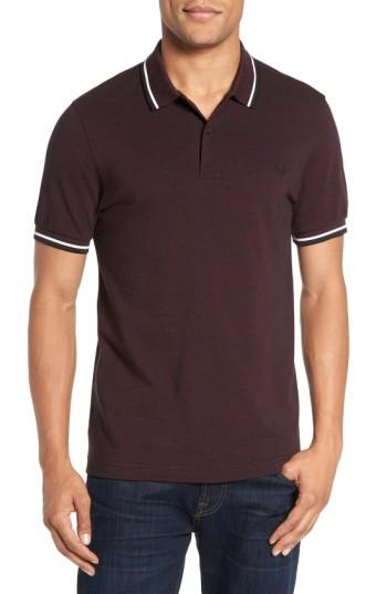 Fred Perry Extra Trim Fit Twin Tipped Pique Polo In Mahogany/ Black
