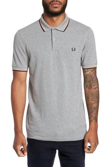 Fred Perry Extra Trim Fit Twin Tipped Pique Polo In Dark Carbon/ Sky Blue/ Shiraz