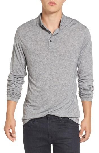 French Connection Long Sleeve Wool Jersey Polo In Grey Melange