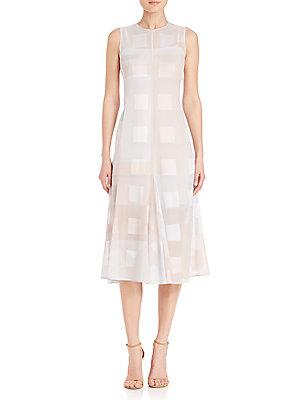 Akris Punto House N Window Print A-line Dress In Beige
