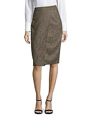 Escada Reo Tweed Pencil Skirt In Green