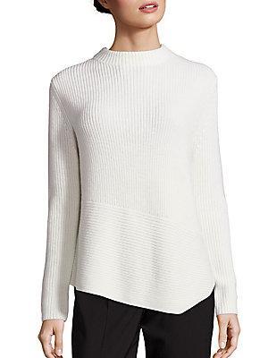 Hugo Boss Farile Asymmetrical Rib-knit Sweater In White