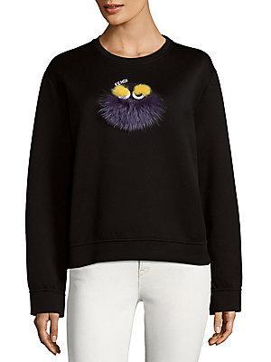 Brunello Cucinelli Fendi Fur Applique Sweatshirt In Black