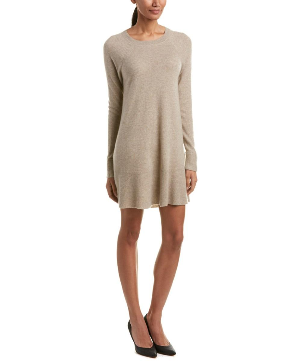 White + Warren Cashmere Sweaterdress In Khaki