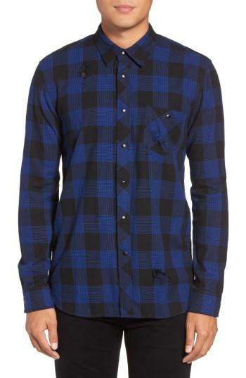 Hudson Weston Check Sport Shirt In Drift Blue